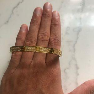 Rhinestone Love Bracelet Gold SIZE: Medium
